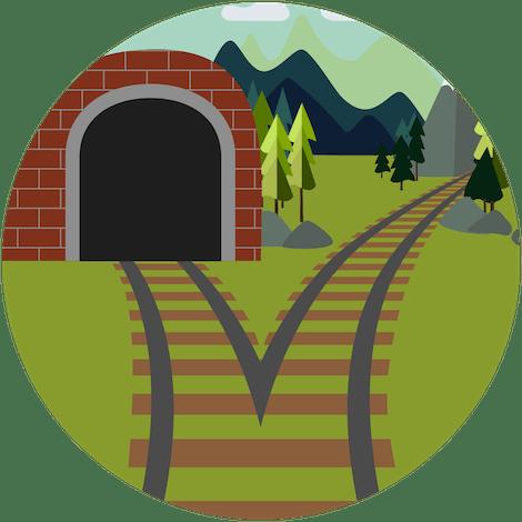 Dzielone tunelowanie VPN: Obrazek torów kolejowych w dwóch kierunkach; jedne prowadzą do tunelu, a drugie poza tunel.