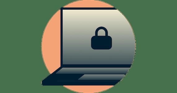 Lucchetto chiuso sullo schermo di un computer. Network Lock mantiene al sicuro i tuoi dati.