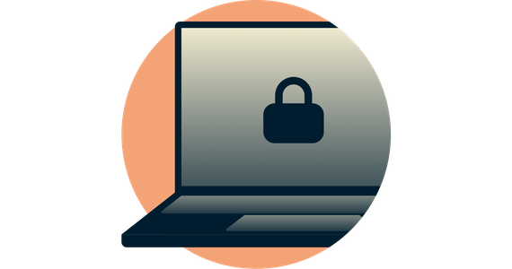 Closed padlock on computer screen. Network Lock keeps your data secure.
