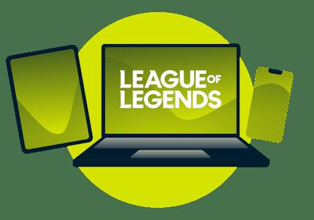 Een breed scala aan apparaten met het League of Legends logo.