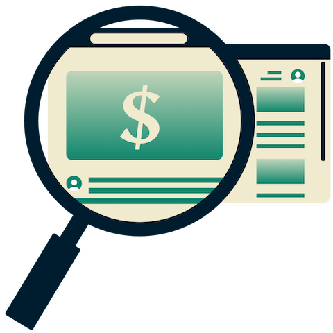 Magnifying glass highlighting online deals on browser screen.