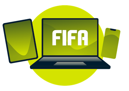 Variety of devices with the FIFA logo.