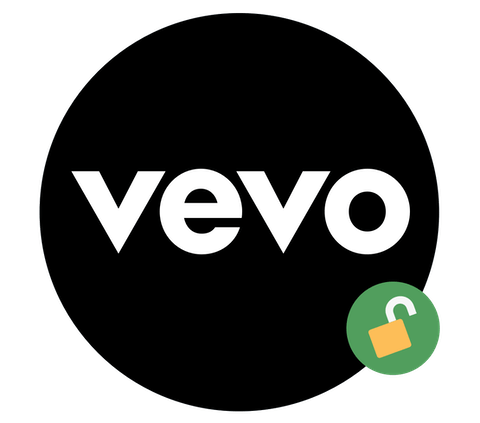 Unblock Vevo: A logo with open padlock.