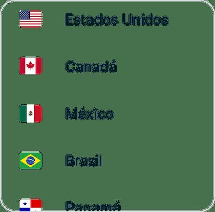 Instale a VPN etapa 2, lista mostrando Estados Unidos, Canadá, México, Brasil e Panamá.