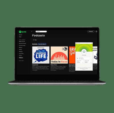 Spotify-bukergrensesnitt med VPN.