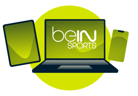 A laptop, tablet, and phone, with the Bein logo.