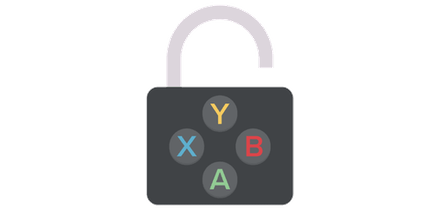 Open padlock with video game buttons on it.