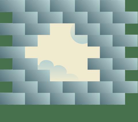 Muro di mattoni rotto.