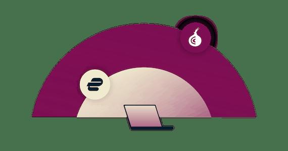 Un diagramma mostra dei dati che passano attravaerso una VPN e poi su Tor.