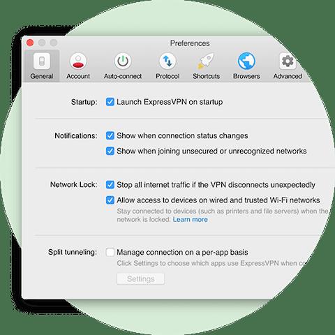 Præferencemenu, der viser Network Lock-indstillinger til Mac
