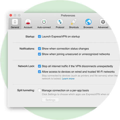 Preferences menu showing Network Lock settings for Mac