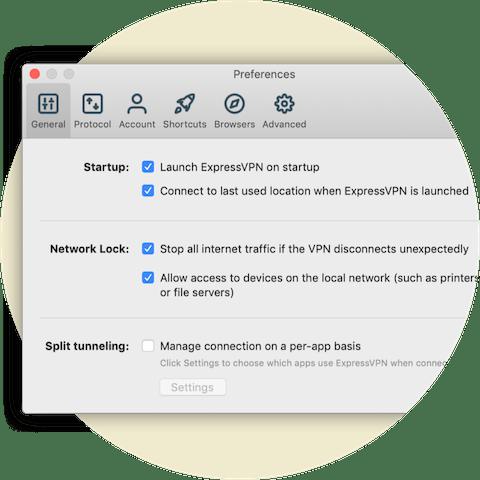 Menu delle preferenze che mostra le impostazioni di Network Lock per Mac.