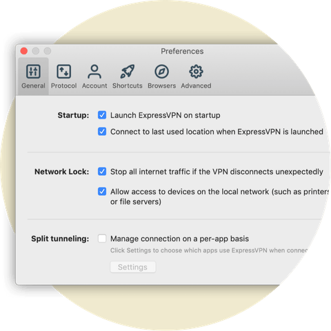 Preferences menu showing Network Lock settings for Mac.
