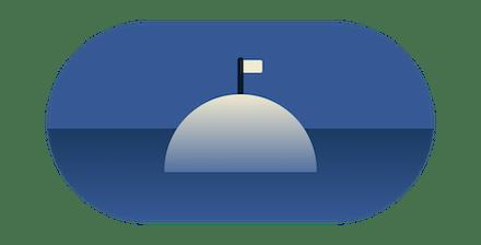 White flag on an island.