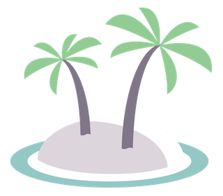 Palm trees on an island.