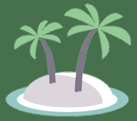Palmetrær på en øy.