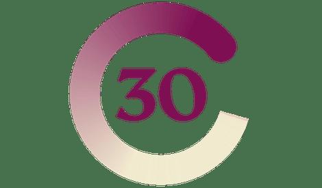 """Число """"30"""" в круге фиолетового, сливового и песочного цвета."""