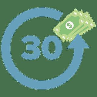 30 umkreist von einem Pfeil mit Bargeld als Symbol für die 30 Tage Geld-zurück-Garantie.