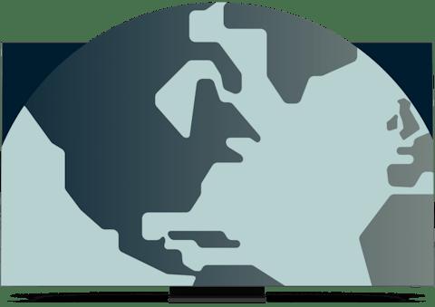 En skärm som visar en del av världen som kommer ut ur den.