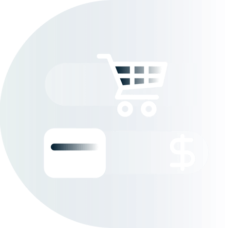Shopping cart, credit card, and currency symbol.
