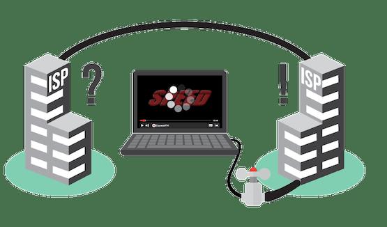 Mitä peering on? Kaavio näyttää kaksi internet-palveluntarjoajaa rajoittamassa nopeutta kannettavalla, jolla suoratoistetaan videota.