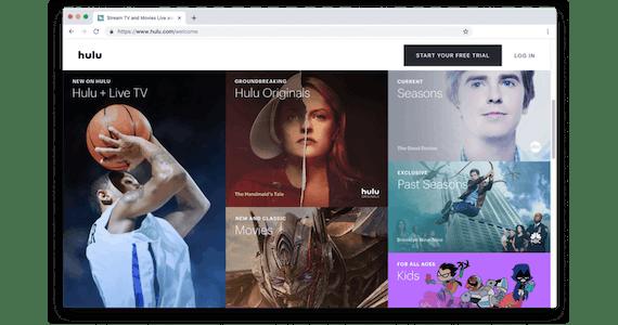 Pantalla de bienvenida de Hulu con imágenes de los programas.