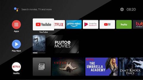 Ekran główny Android TV.