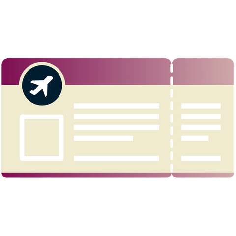 Boarding pass with plane symbol.