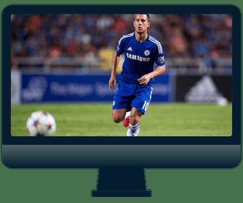 Engelsk Premier League på en dataskjerm.