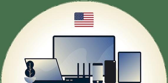 VPN dos EUA protegendo uma variedade de dispositivos.