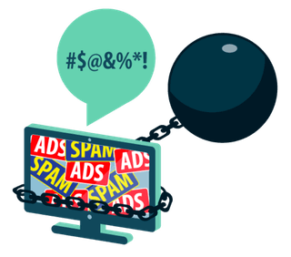 A computer screen covered in ads and spam and attached to a ball and chain.