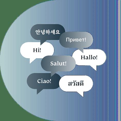Dymki czatu zawierające powitania w różnych językach.