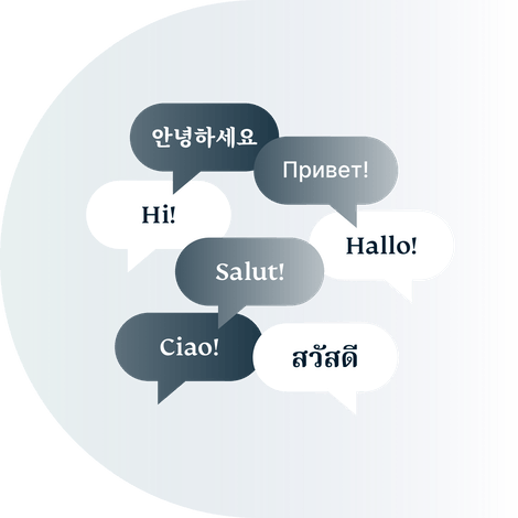 Speech bubbles containing various foreign greetings.