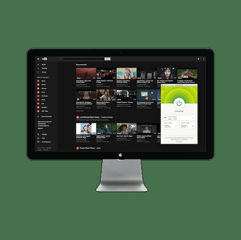 Interfejs YouTube z VPN.
