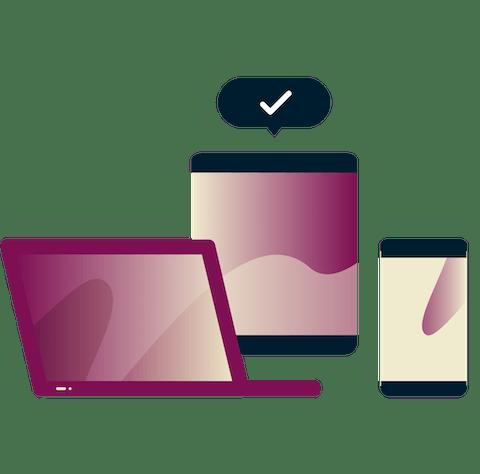 Laptop y dispositivos con una marca de verificación en un bocadillo de diálogo.