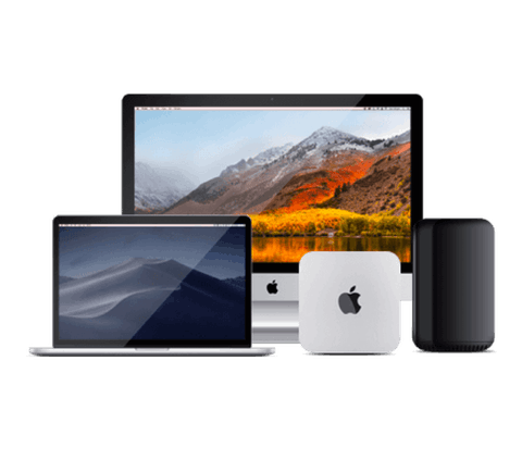 Un conjunto de dispositivos Apple: iMac Pro, MacBook Pro, Mac Mini, Mac Pro
