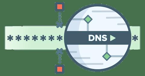 Rundes DNS-Logo zeigt, dass Zensuren von verschlüsselten DNS-Anfrage nicht möglich sind