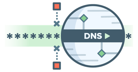 Circular DNS logo showing censors unable to block an encrypted DNS request