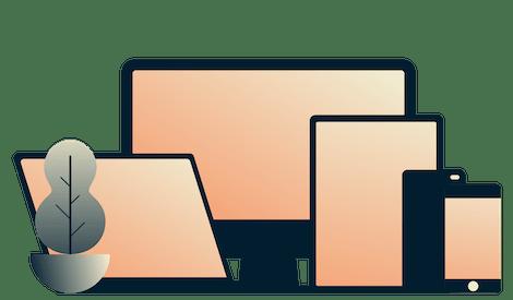 Mobiltelefone, ein Tablet, ein Laptop und ein Desktop laufen gleichzeitig mit ExpressVPN.