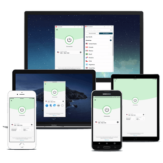 Mobile phones, a tablet, a laptop, and a desktop all running ExpressVPN simultaneously.