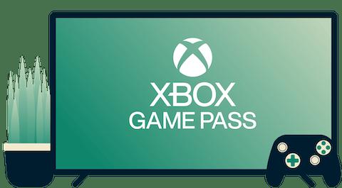 Skærm med Xbox Game Pass-logo, controller og plante