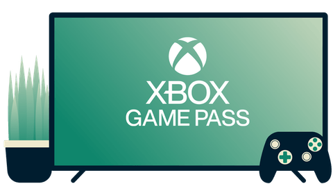 Screen with Xbox Game Pass logo, controller, and plant
