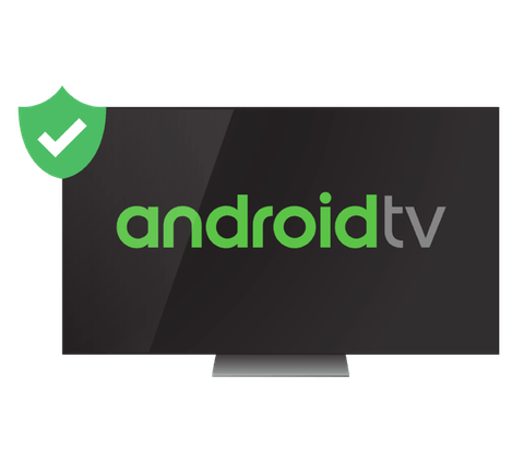 Android TV logo on a TV screen with VPN shield.