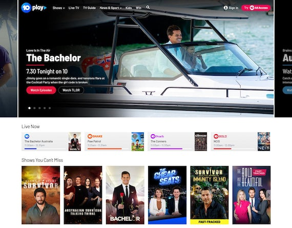 Watch the Bachelor, Survivor, and other reality TV shows on 10 play Australia