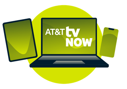 A laptop, tablet, and phone, with the AT&T TV Now logo.