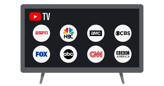 TV screen showing channels available on YouTube TV.