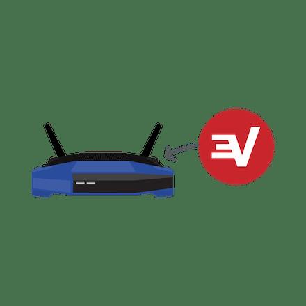 ExpressVPN'in bir Wi-Fi yönlendiriciye yüklendiğini gösteren ok
