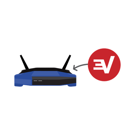 Arrow showing ExpressVPN being installed on a Wi-Fi router