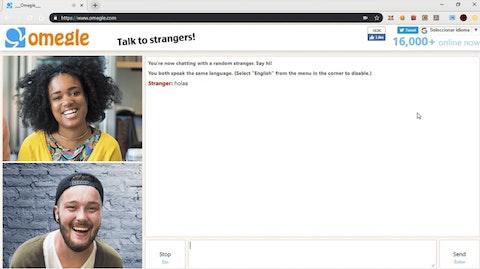 Omegle chat skærm.