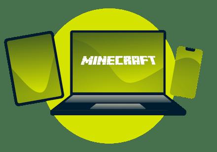 Uma variedade de dispositivos com o logotipo do Minecraft.